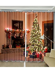 cheap -New Christmas Tree Curtains in New Christmas House Digital Printing 3D Curtains Festival High Precision Black Silk High Quality Blackout Curtains