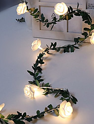 cheap -1pcs Rose Flower Vine String LED Lights Decoration Green Leaf Garland Battery Powered 3m 20leds Warm White Fairy Lights