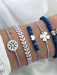 cheap -5pcs Women's Blue Bead Bracelet Vintage Bracelet Earrings / Bracelet Layered Heart Weave Clover Simple Classic Vintage Trendy Fashion Cord Bracelet Jewelry Silver For Gift Daily School Holiday