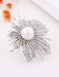 cheap -Women's AAA Cubic Zirconia Brooches European Pearl Brooch Jewelry Silver For Party Festival