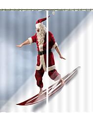 cheap -New Christmas Curtains Will Ski Santa's Digital Printing 3D Curtains Festival High Precision Black Silk Cloth High Quality Blackout Curtains