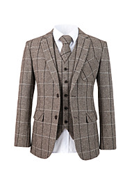 cheap -Brown herringbone tweed wool custom suit