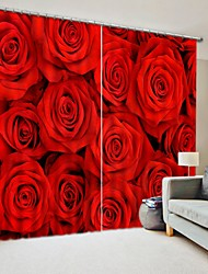 cheap -Close Up Red Rose Bouquet Digital Printing 3D Curtain Blackout Curtain High Precision Black Silk Fabric High Quality Curtain