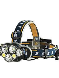 Недорогие -Налобные фонари Светодиодная лампа 7 излучатели Портативные Регулируется Водонепроницаемый Прочный Походы / туризм / спелеология Повседневное использование Велосипедный спорт Черный