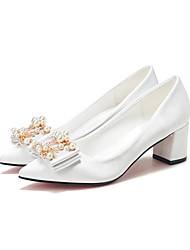 cheap -Women's Wedding Shoes Chunky Heel Pointed Toe Rhinestone / Bowknot Satin Sweet / Minimalism Spring &  Fall / Spring & Summer White / Champagne / Red / Party & Evening
