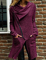 cheap -Women's Daily Long Coat, Solid Colored Hooded Long Sleeve Polyester Purple / Gray