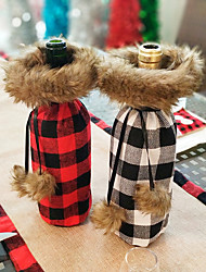 cheap -Home Decoration Red Black Plaid Christmas Red Wine Bottle Bag Holiday Decorations Christmas Decorations Christmas Figurines / Christmas Ornaments / Decorative Objects Cartoon / Decorative / Lovely 1pc