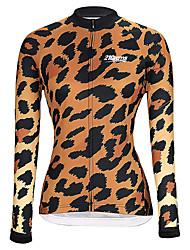Недорогие -21Grams Жен. Длинный рукав Велокофты Зима Черный / оранжевый Лиловый Желтый Леопард Велоспорт Джерси Верхняя часть Горные велосипеды Шоссейные велосипеды Сохраняет тепло Дышащий Быстровысыхающий
