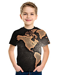 abordables -Enfants Garçon Basique Imprimé 3D Manches Courtes Tee-shirts Noir