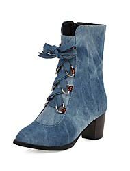 cheap -Women's Boots Chunky Heel Round Toe Faux Fur Booties / Ankle Boots Sweet / Minimalism Spring &  Fall / Fall & Winter Black / Light Blue / Dark Blue