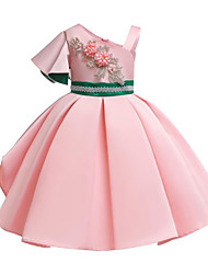cheap -A-Line Medium Length Party / Pageant Flower Girl Dresses - Satin / Poly&Cotton Blend Sleeveless One Shoulder with Belt / Appliques / Splicing