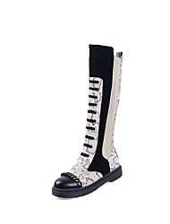 cheap -Women's Boots Low Heel Round Toe Buckle / Stitching Lace / Ribbon Tie Faux Leather Knee High Boots Casual / Minimalism Fall & Winter Brown / White / Color Block