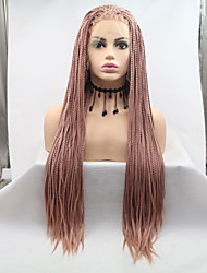 cheap -Synthetic Lace Front Wig Plaited Braid Lace Front Wig Pink Medium Length Rose Gold Synthetic Hair 26 inch Women's Women Braided Wig Pink Sylvia