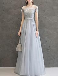 cheap -A-Line Elegant Prom Formal Evening Dress Jewel Neck Short Sleeve Floor Length Chiffon with Beading Sequin 2020