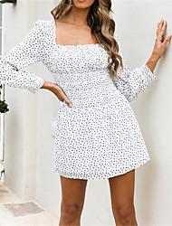 cheap -Women's White Dress Chiffon Floral Square Neck S M Slim