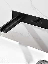 cheap -Bathroom Sink Faucet - Waterfall Black Wall Mounted Single Handle Two HolesBath Taps