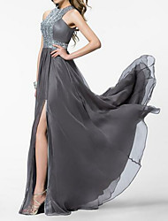 cheap -A-Line Empire Grey Prom Formal Evening Dress Jewel Neck Sleeveless Sweep / Brush Train Chiffon with Crystals Split Front 2020