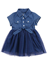 cheap -Kids Toddler Girls' Active Cute Blue Solid Colored Short Sleeve Dress Blue