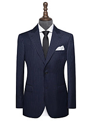 cheap -Navy blue chalk stripe wool custom suit