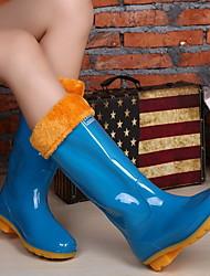 رخيصةأون -نسائي كتب كعب مسطخ أمام الحذاء على شكل دائري PVC البوط القصير / بوط الكاحل الشتاء أزرق