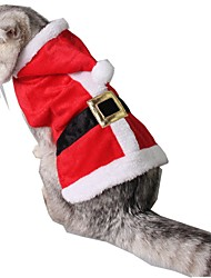 cheap -Cat Costume Holiday Decorations Santa Claus Winter Dog Clothes Red Christmas Costume Husky Corgi Beagle Terylene Party / Evening Christmas S