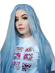 cheap -Synthetic Lace Front Wig Straight Side Part Lace Front Wig Long Sky Blue Synthetic Hair 18-26 inch Women's Cosplay Soft Adjustable Blue