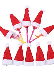 cheap -10Pcs Hot Sale Mini Santa Claus Hat Christmas Xmas Holiday Lollipop Top Topper Cover Festival Decor Wholesale