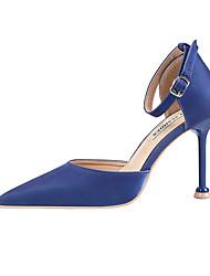 cheap -Women's Heels Stiletto Heel Pointed Toe Satin Minimalism Spring & Summer Black / Wine / Almond / Party & Evening