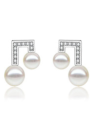 cheap -Women's Earrings Geometrical Music Notes Stylish Imitation Diamond Earrings Jewelry White For Gift Daily 1 Pair