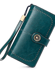 cheap -Women's Bags Cowhide Wallet Wristlet Bag Buttons Solid Color Daily Office & Career Wine Blue Purple Red
