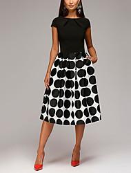 cheap -Women's A Line Dress Black Sleeveless Polka Dot Round Neck M L XL XXL 3XL