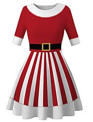 cheap -Kids Girls' Basic Cute Santa Claus Striped Color Block Christmas Print Long Sleeve Knee-length Dress Red