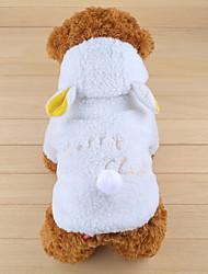 Недорогие -Собаки Костюмы Толстовки Овечья шерсть Зима Одежда для собак Сохраняет тепло Белый Halloween Костюм Той-пудель Полиэстер Однотонный Косплей Симпатичные Стиль XS S M L XL