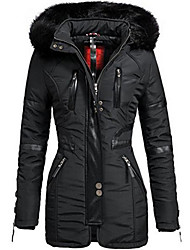 cheap -Women's Daily Fall & Winter Long Coat, Solid Colored Hooded Long Sleeve Polyester Black