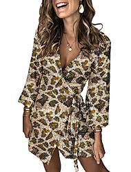 cheap -Women's Party Evening Elegant Shift Dress - Floral Split V Neck All Seasons Wine Light Blue Purple S M L XL