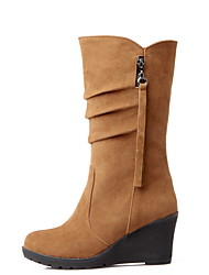 cheap -Women's Boots Wedge Heel Round Toe Suede Mid-Calf Boots Fall & Winter Black / Yellow / Green