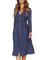 cheap -Women's Blue Black Dress Swing Geometric Print S M