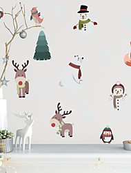 cheap -Merry Christmas Watercolor PVC Wall Sticker Snowman and Polar Bear Self-Adhesive Waterproof Wallpaper for Children's Room