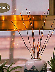 cheap -2pcs 20 Bulbs LED Willow Branch Lamp Battery Powered Natural Tall Vase Filler Willow Twig Lighted Branch For Home Decoration
