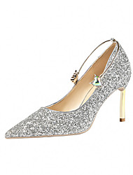 cheap -Women's Wedding Shoes Stiletto Heel Pointed Toe Rhinestone / Buckle Synthetics Minimalism Spring & Summer Black / Champagne / Gold / Party & Evening