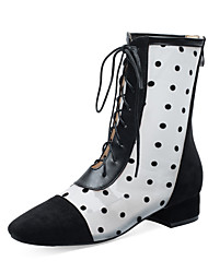 cheap -Women's Boots Low Heel Round Toe Faux Fur / Synthetics Booties / Ankle Boots Casual / Sweet Spring &  Fall / Fall & Winter Black