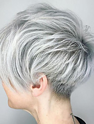 cheap -Human Hair Wig Short Straight Pixie Cut Short Hairstyles 2019 Straight Natural Hairline Machine Made Women's Black#1B Silver Palest Blonde 8 inch