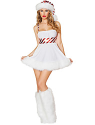cheap -Santa Suit Cosplay Costume Women's More Uniforms Christmas New Year Festival / Holiday Polyester White Women's Carnival Costumes / Hat