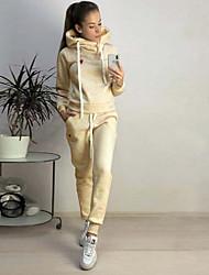 abordables -Femme Sweat à capuche - Couleur Pleine Pantalon