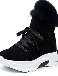 cheap -Women's Boots Snow Boots Hidden Heel Round Toe Suede Booties / Ankle Boots Winter Black / Khaki