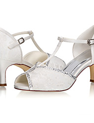 cheap -Women's Wedding Shoes Stiletto Heel Peep Toe Sparkling Glitter Lace / Satin Sweet / Minimalism Spring & Summer / Fall & Winter Ivory / Party & Evening
