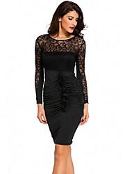 cheap -Women's Daily Wear Basic Sheath Dress - Solid Colored Black S M L