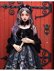 cheap -Glamorous & Dramatic Gothic Lolita Shiro& Kuro Lolita Dress Cosplay Costume Female Japanese Cosplay Costumes Black Cartoon Characters Butterfly Skull Lace Sleeves 3/4 Length Sleeve Knee Length