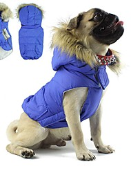 cheap -Dog Coat Hoodie Winter Dog Clothes Red Blue Pink Costume Cotton Color Block Keep Warm Sports S M L XL