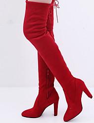 cheap -Women's Boots Stiletto Heel Round Toe Sheepskin Fall & Winter Black / Red / Gray